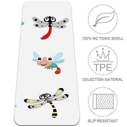 TIKISMILE Dragonfly Designs Collection - Tappetino da yoga extra large, ecologico, ad alta densità, anti-strappo, 183 x 61 cm, antiscivolo, per pilates, meditazione, pavimento ed esercizi