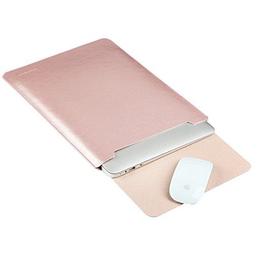 GENORTH Wasserdicht Mikrofaser PU Leder Laptop Hulle fur 154 Zoll Laptop Schutzhulle Hulle Case Cover tasche 15 Zoll Hulle mit Handgriff geschutztes Inneres und externes Mousepad15 Zoll Rose Gold