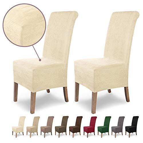 SCHEFFLER-Home Leon 2 Fundas de sillas, Estirable Cubiertas, Polipiel extraíble flexibel Funda con Banda elástica, Crudo