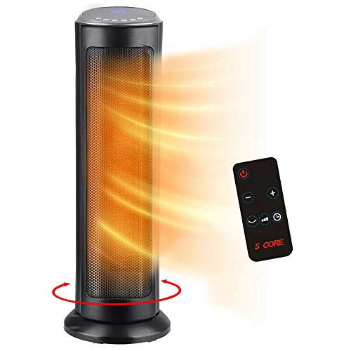 Space Heater PTC 5 Core 2021 new 1500W Ceramic Tower Heater 24 inches Fast Heating Quiet Portable Oscillating with Remote Control, Sleep Timer, Over heating Protection, Tip Over Protection and LED Display, Auto Temperature Control