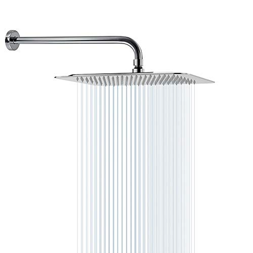 Rain Shower Head With Extension Arm, NearMoon Square Shower Heads, Large Stainless Steel Rainfall Showerhead-Waterfall Full Body Coverage (12 Inch Shower Head With 15 Inch Shower Arm, Chrome)