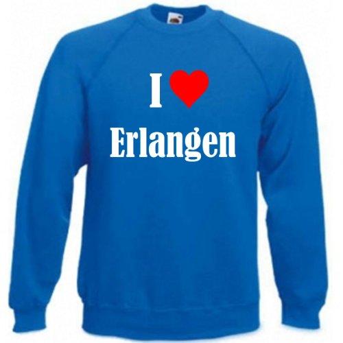 Reifen-Markt Sweatshirt Damen I Love Erlangen Größe M Farbe Blau Druck Weiss