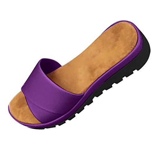 TUDUZ Sport Outdoorschuhe Schuhe Damen Sommer Frauen Damen Retro Leinen Canvas Wedge Round Toe Casual Sandalen Singles Schuhe Segelschuhe(40EU,Lila)