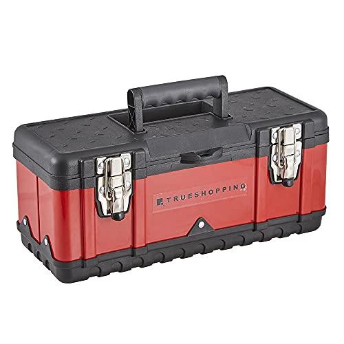 Trueshopping Caja de Herramientas de Acero - Caja de Herramientas Resistente con Pestillos Metálicos y Mango de Seguridad - Equipado con Bandeja Interior Extraíble - 40 x 18 x 17 cm (L x A x A)