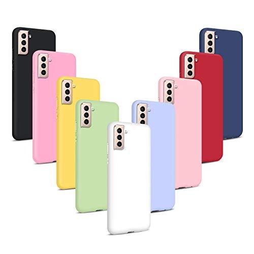 9X Cover per Samsung Galaxy S21+ 5G/ S21 Plus 5G, Custodie Morbido Silicone Case Tinta Unita Ultra Sottile TPU Flessibile Gomma Protezione Posteriore Antiscivolo Skin Caso - 9 Colori