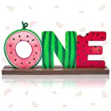 OSNIE Watermelon One Letter Sign Wooden Table Centerpieces One in a Melon Party Decorations for Baby Boys Girls Summer Fruit Watermelon Theme 1st Birthday Milestone Baby Shower Cake Smash Photo Props