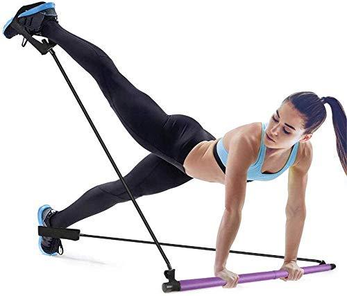 HSXOTM Bodybuilding Yoga Pilates Stick con lazo para el pie, kit de barra de resistencia para el gimnasio, ideal para el entrenamiento del cuerpo, gimnasio, levantamiento de pesas
