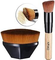 KFiAQ Foundation Brush Makeup Brush & Wooden Handle Kabuki Foundation Brush, for Blending Liquid, Cream, Concealer...