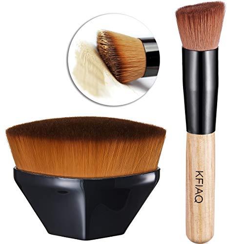 KFiAQ Foundation Pinsel Make-up Pinsel Gesicht Pinsel Blush & Kabuki Make up Pinsel mit Holzgriff für Flüssigkeit, Creme, Concealer Premium
