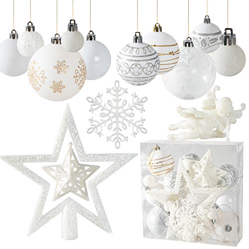 WeekSegtem Christmas Ball Assorted Pendant Shatterproof Ball Ornament Set Seasonal Decorations with Reusable Hand-Help Gift Boxes Ideal for Xmas, Holiday and Party (White)