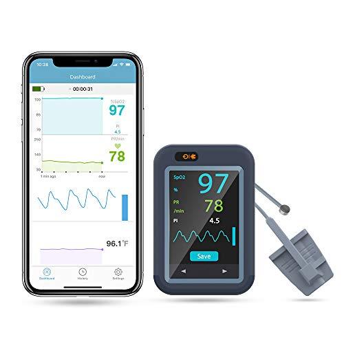 Bluetooth Blut-Sauerstoffsättigungsmessgerät, digital, für Herzfrequenzmesser mit Körpertemperaturfunktion und SpO2-Stufen, Dual-Direction-Farbbildschirm, wiederaufladbar
