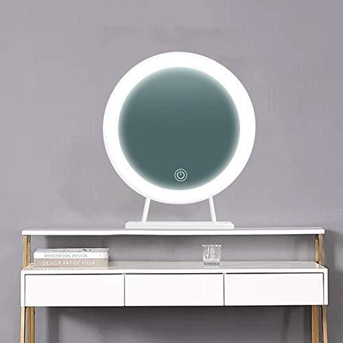 Draagbare tafelbladen Verstelbare spiegel Nordic metalen tafelspiegel Dressoir ronde spiegel led spiegel met lamp-driekleurige led wit frame [35 * 35cm]