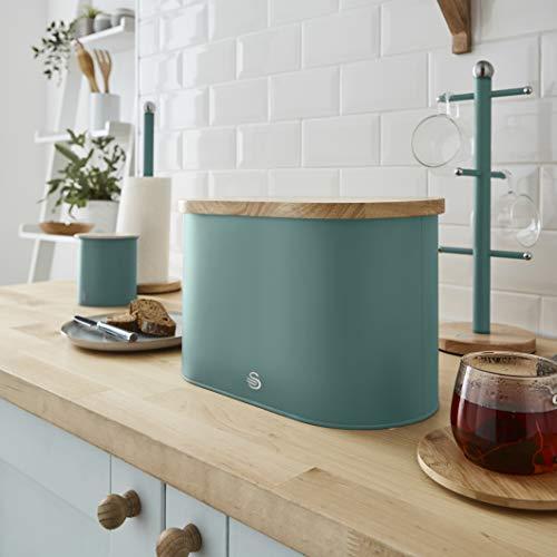 Swan Nordic Scandi Bread Bin with Bamboo Cutting Board Lid - Pine Green