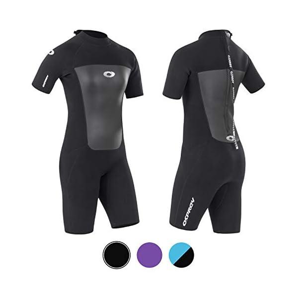 Osprey Womens Shorty 3 mm Summer Wetsuit, Adult Short Sleeve Neoprene Surfing Diving Wetsuit, Origin, Multiple Colours