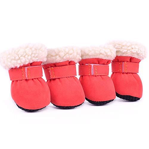LOVEPET Inverno Tenere Caldo Scarpe da Compagnia Scarpe in Cotone per Cuccioli Stivali da Neve Antiscivolo Resistente all'Usura Scarpe da Cane