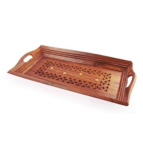 Wood Handmade 11 X 6 Inch Tray, Wooden beautiful Serving Tray, Kitchen Tray, Food Tray, Perfect Wooden Serving Tray for Parties, Brown Color