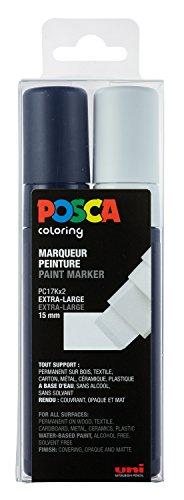 uni-ball 186302 – Marqueur Uni Posca avec Extra Large Rectangle pitze Lot de 2 Noir/Blanc
