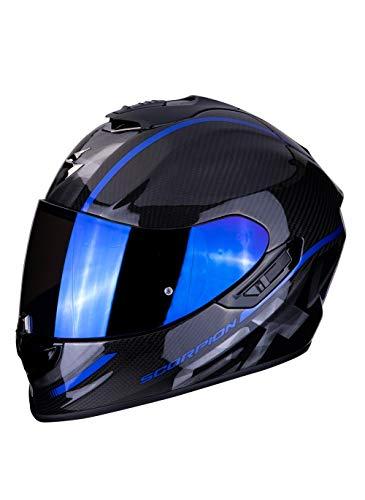Scorpion EXO-1400 Grand Integralhelm aus Carbonfaser für Motorräder mit SpeedView Innenvisier, ausziehbar, Außenschale TCT L