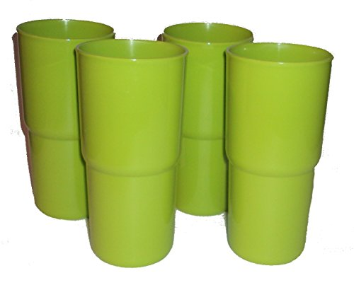 Set of 4 Tupperware 18 ounce TableTop Stacking Tumblers in Lime Green