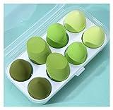 HFQJTU 8PCS Belleza Maquillaje Sponge Sponge Set, Forma de Huevo + Corte de Oliva, Soft Multiuso Cosmético Aplicador Cosmético Puff, para Líquido, Polvo, Crema BB Y Perrero Sol Regalo (Color : Green)