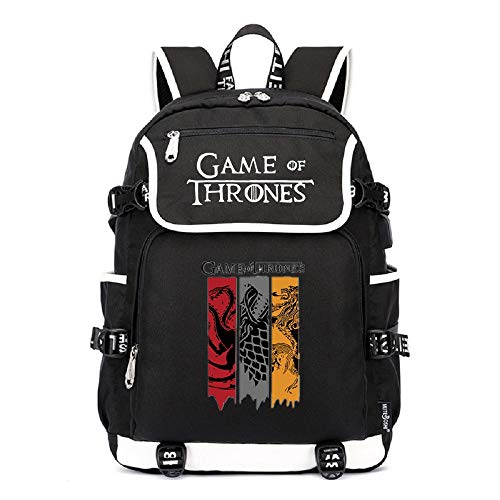 AUGYUESS Luminoso Juego de Tronos Mochila escolar Daypack Bolsa para portátil Bolsa de hombro con puerto de carga USB