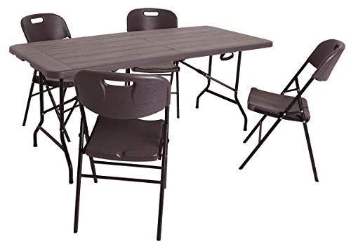 XONE Set Stampo Legno in Resina Composto da Un Tavolo richiudibile (180x75,5x74cm) e 4 sedie Pieghevoli (86x45x50cm), Colore Dark. Set per Interni, Campeggio, terrazze, Giardino