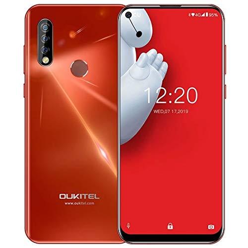 "OUKITEL C17 Pro Dual 4G Smartphone Libre, Pantalla de Perforada 6.35"",Triple Trasero Cámara,Android 9.0 Octa-Core 2.0GHz Teléfono Movil,4GB RAM+64GB ROM,Batería 3900mAh, Face ID (4GB+64GB-Arce Rojo)"
