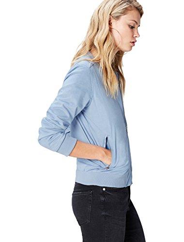 find. Bomberjacke Damen aus Kunst-Rauleder, mit elastischen Bündchen, Taschen und Reißverschlüssen, Blau (Sky Blue), 38 (Herstellergröße: Medium)