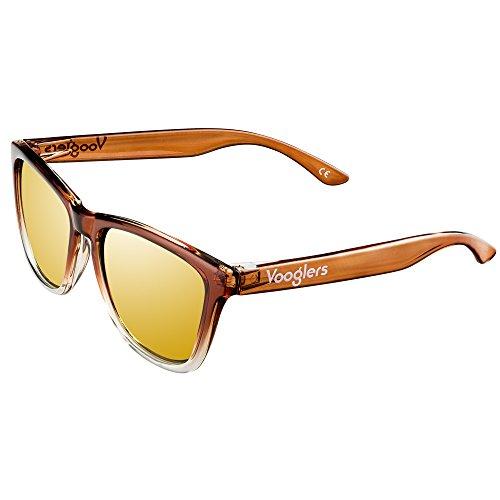 Gafas de Sol Mujer Hombre Unisex Polarizadas UV400 Vooglers Dubai Skylines Cristales Marrones Lentes Espejo Bicolor Marrón Marco Ligero Transparente Brillo