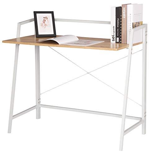 WOLTU Escritorio de Oficina Mesa de PC Mesa de Trabajo de Madera y Acero, con Estante de Acero, Aprox.95x50x83 cm TSB55whe