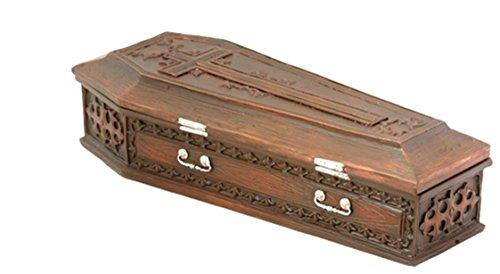 YTC Summit International Brown Vampire Coffin Casket with Cross Jewelry Trinket Box