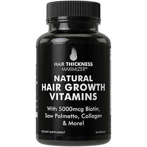 Natural Hair Growth Vitamins by Hair Thickness Maximizer - Hair Regrowth Vitamin Supplement with Biotin 5000 mcg, Collagen, Saw Palmetto. Stop Hair Loss, get Thicker Hair for Men, Women. Made in USA