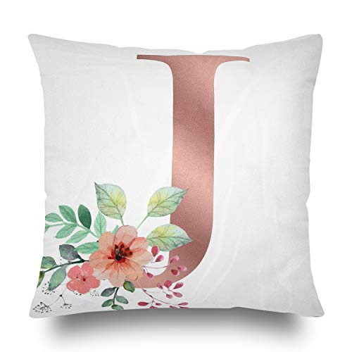 English Alphabet J Throw Pillow Covers Initial Pillow Covers Pink Flowers Letter j Printed Pattern Square Pillowcases 18X18 In / 45X45 cm White Velvet Modern Accent Cushions Cover Home Decor (1PCS)
