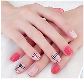 TBOP FAKE NAIL art reusable French long Artifical False nails 24 pcs set Manicure finished fingernail patch jelly gel type in Pink and Beige color