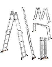 COSTWAY 4,7m Vouwladder, stevig aluminium frame uitschuifbare ladder, Steiger, draagvermogen 150kg