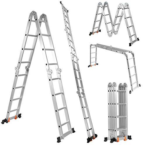 COSTWAY Mehrzweckleiter Teleskopleiter Alu, Klappleiter Multifunktionsleiter Anlegeleiter Ausziehleiter Verlängerungsleiter, Belastbarkeit 150 kg (4,7m)