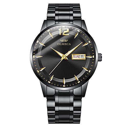 OLMECA Men's Watch Unique Analog Quartz Watches Stainless Steel Band Date Display Watch Waterproof Wrist Watch Black Color 879 (Black)