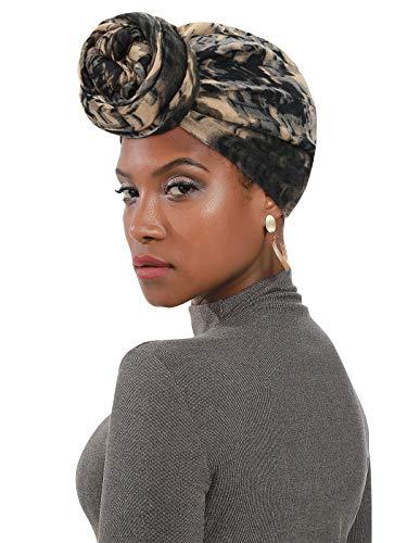 Century Star Women's Turban Soft Head Wrap Headbands Lightweight Long Shawl Scarfs Hijab for Women All Season African Turban 01 Black