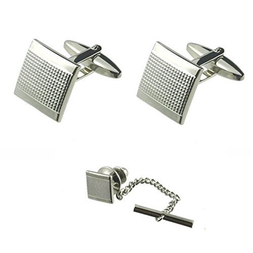 Spilla~Gift Matching Boxed Set Tie Tack pin quadrato in argento