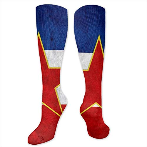 NA Vintage Joegoslavië Vlag Knie Hoge Gegradueerde Compressie Sokken Voor Vrouwen En Mannen - Beste Medische, Verpleegkunde, Reizen & Vlucht Sokken - Hardlopen & Fitness