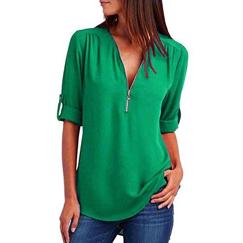 ❤️Mode Femmes Casual Tops T-Shirt Lâche Haut à Manches Longues Blouse Tefamore (X-Large, Vert)