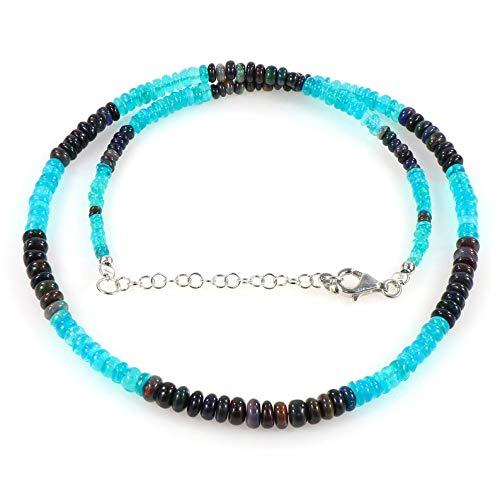 Opal Perlen Halskette, Multi Farbe Opal Stein Schmuck, Schwarz Opal Halskette, Blau Opal Halskette, Handgemachte Schmuck Perlenkette Opal Edelsteine Halskette