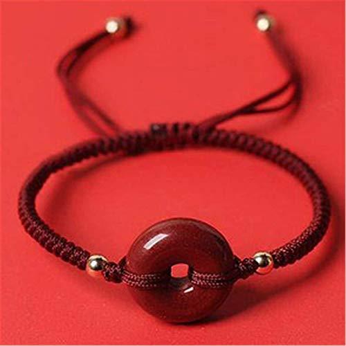 SUCICI Feng Shui Cinnabar Wealth Bracelet Peace Button Buddha Beads Amulet Bracelet Lucky Charms Handmade Adjustable Diamond Knot Jade Bangle Jewel Gift for Women/Men,B (Color : B)