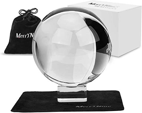 Photograph Crystal Ball with Stand and Pouch, K9 Crystal Suncatchers Ball with Microfiber Pouch, Decorative and Photography Accessory (100mm/3.94' Set, K9 Clear)