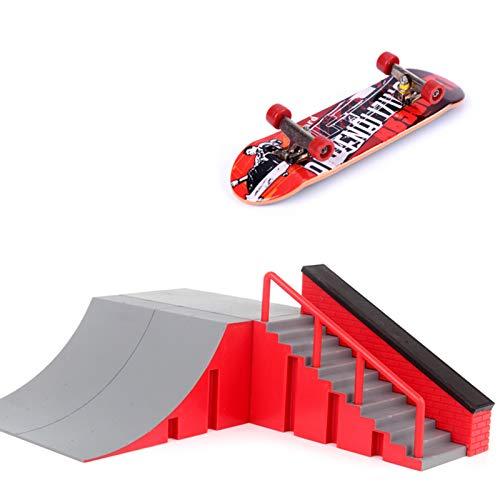 Mengmengda Finger Skate Park Kit Rampa Piezas con 1 dedo Skateboard Mini Scooter Escena para Finger Skateboard Training Props