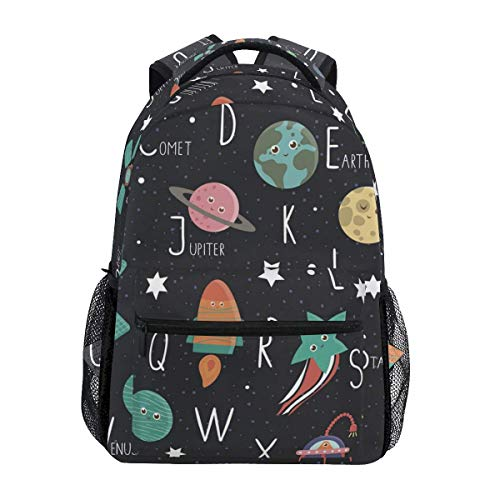Space Alphabet Cute Flat ABC with Galaxy Stars Astronaut Backpacks Travel Laptop Daypack School Bags for Teens Men Women