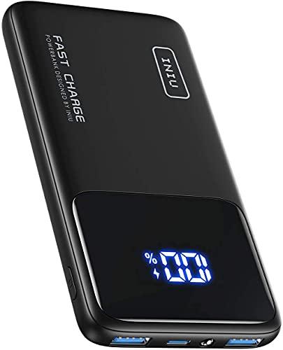 INIU Batterie Externe, 20W PD3.0 QC4.0 Charge Rapide USB C 10500mAh LED Power Bank, Chargeur Portable avec Support de Téléphone et...