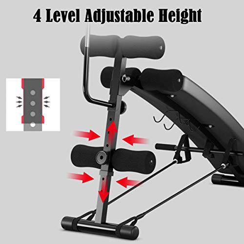 Goplus Adjustable Sit Up Bench, Decline Curved Slant Ab Bench Crunch Board with Speed Ball for Full Body Workout Strength Training (Black)
