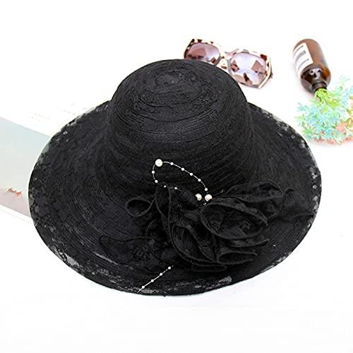 NJJX Sombreros De Sol De Hilo De Red De Encaje Floral Vintage para Mujer Gorros De Playa De Viaje Al Aire Libre Plegables De ala Ancha De Verano Negro