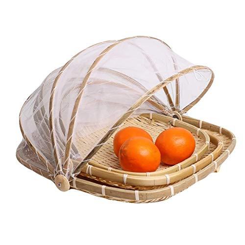 SLINGDA Mano-Tejido Víveres Cesta De Servicio,Polvo Bambú Picnic Caja Tienda De Alimentos con Cubierta De Malla para El Pan De Frutas Vegetales Contenedor De Almacenamiento-B 33x33x16cm(13x13x6inch)